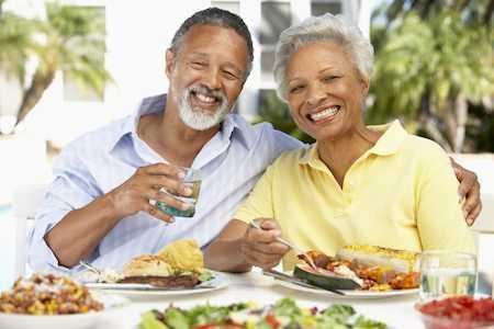 Elderly couple enjoying lunch in Port St. Lucie
